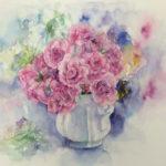 水彩画:花