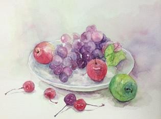 水彩画『果物』