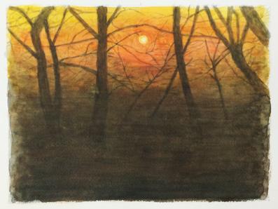水彩画『夕景』