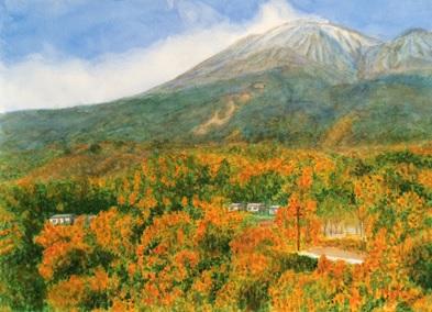 水彩画『紅葉の景色』