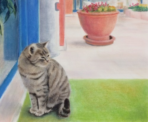 パステル画『猫』