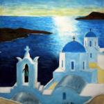 抽象画『サントリーニ島』