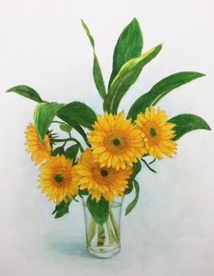 水彩画『向日葵』