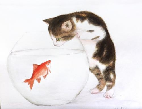水彩画『猫と金魚』