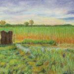 パステル画『草原の夕暮』