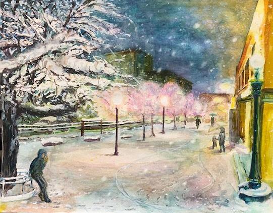 水彩画『雪の夜』