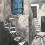 油絵『サントリーニ島の片隅』