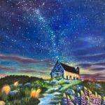 油絵作品『夕暮れ時の一軒家』