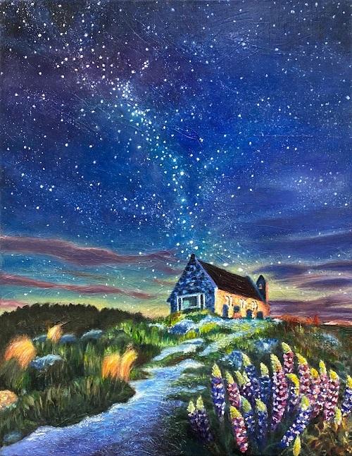 生徒作品『夕暮れ時の一軒家』