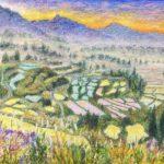 アクリルとクレパス『棚田のある風景』