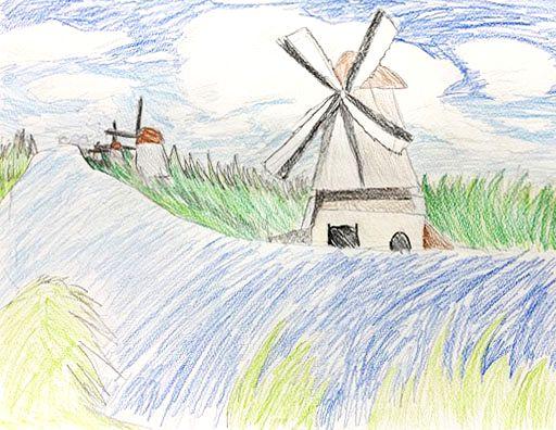 ジュニアクラス会員作品 色鉛筆画『風車のある風景』
