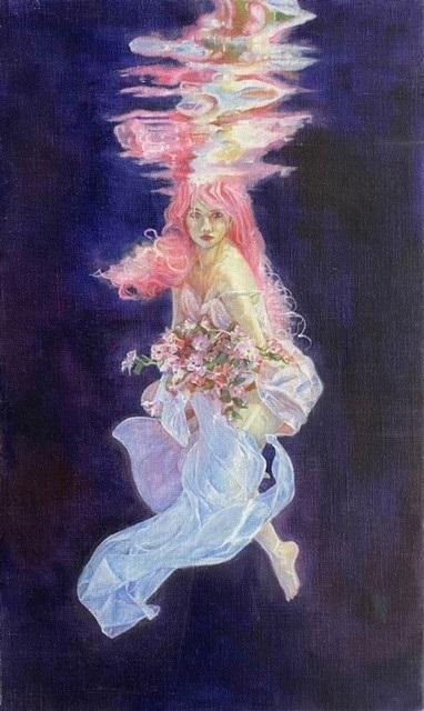油絵『浮遊する女性』