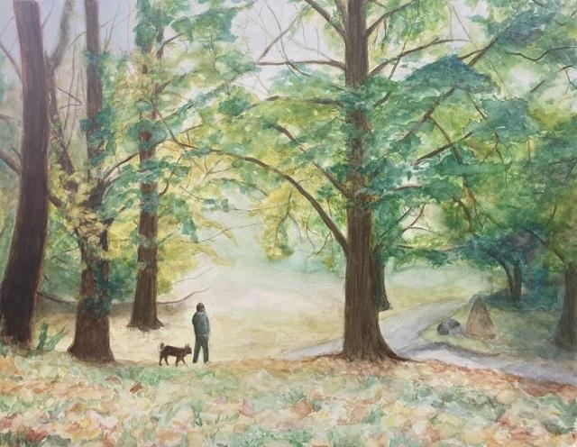 水彩画『秋の公園』