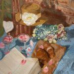 油絵『本とパンのある静物』