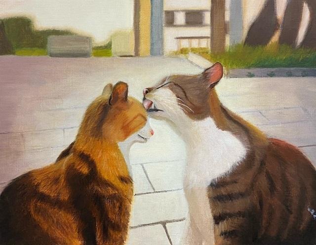 油絵『仲良しの猫』