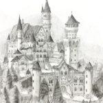 ノイジュニアクラス会員作品 鉛筆デッサン『シュヴァンシュタイン城』